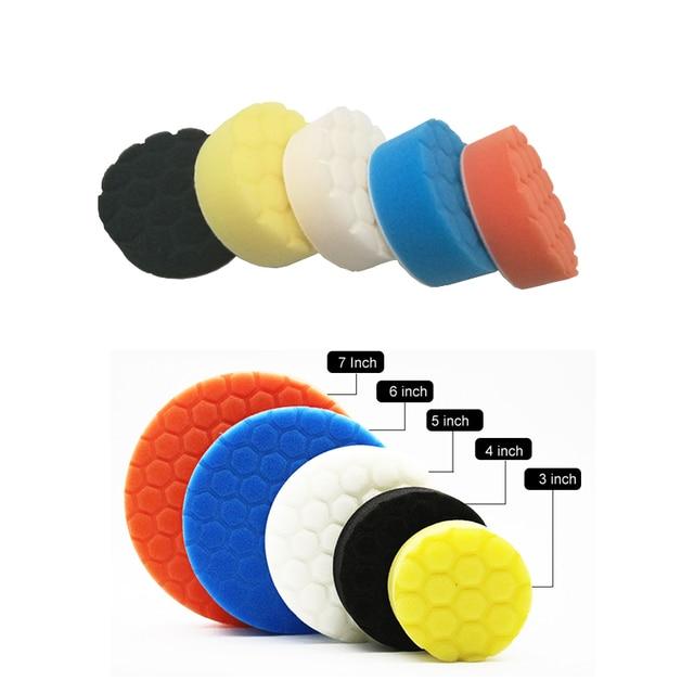 5pcs Car Polishing Disc Self Adhesive Buffing Waxing Pad Muti color Sponge For Car Polisher Drill Adapter