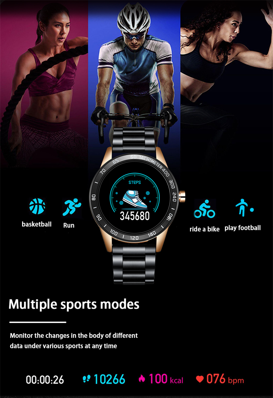 LIGE New Smart Watch Men Pedometer Heart Rate Blood Pressure Monitor Waterproof Steel Belt Smartwatch Sport Multifunction Mode