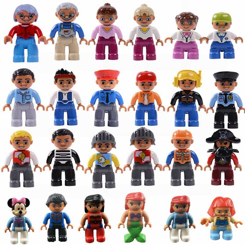 Legoing Duplo City Sets Grandparents Uncle Aunt Pirate Minnie Baby Figures Figurine Building Blocks Duploed Legoings Toys  Gifts