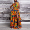 Mulheres Sexy Profundo Decote em V Vestido Maxi Africano Étnica Retro Imprimir vestido de Festa Halter Vestido Longo Vestidos Verano 2019 Mujer