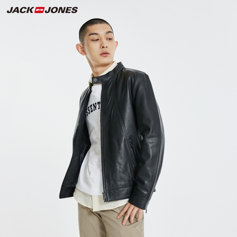 JackJones Men's Stand-up Collar Sheep Wool Leather Jacket Menswear| 219110501