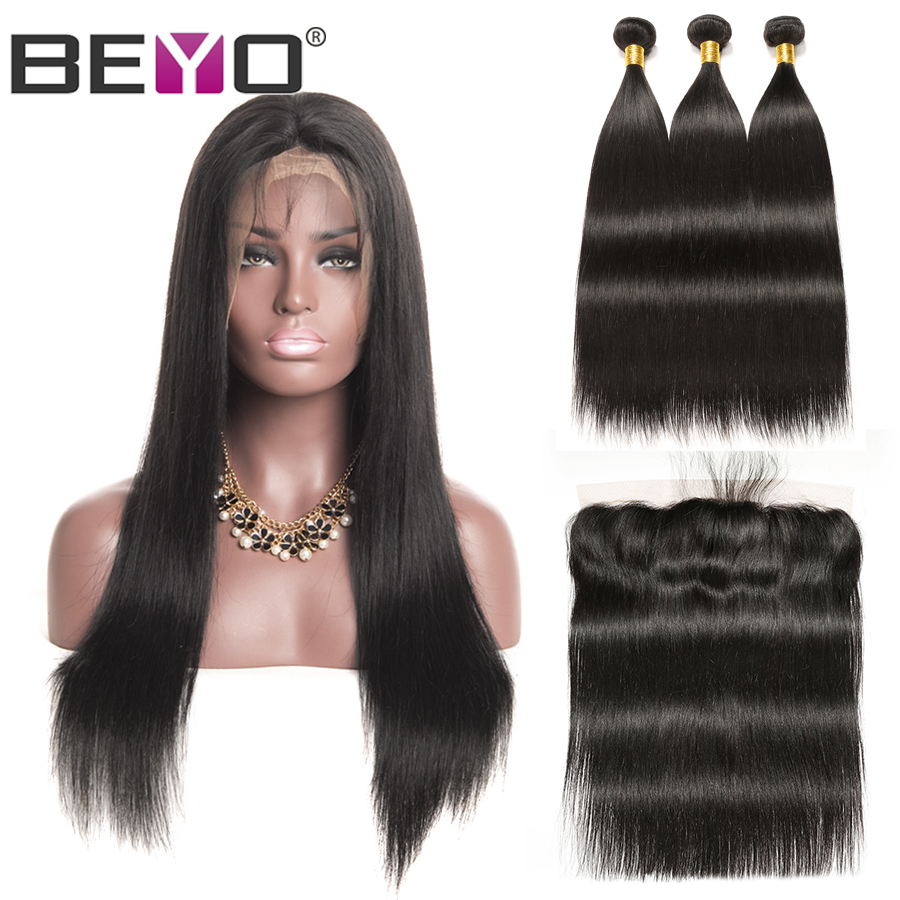 Brazilian Straight Lace Frontal Wig 300% Density Free Customized Wig Remy Hair Bundles With Frontal Beyo Human Hair Lace Wig