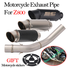 Motorcycle Exhaust Muffler Pipe Fuel Sticker Modified With Middle Connection Link Pipe Full System For Kawasaki Z800 Slip on