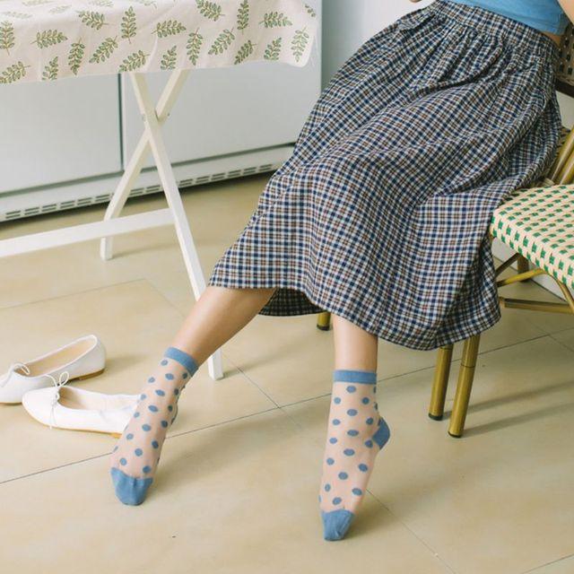 Women's Retro Large Polka Dot Ankle Socks
