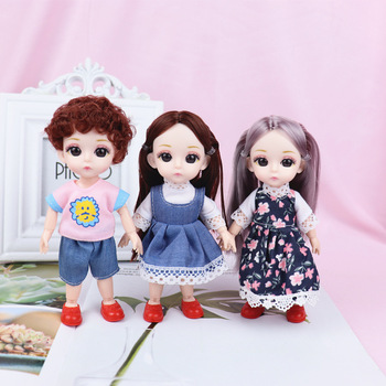 16cm BJD Dolls 13 Joint Moveable Original 1/12 Princess Doll Toys with Shoes Dress up Nude Cute Baby Doll Toy For Kids Gifts