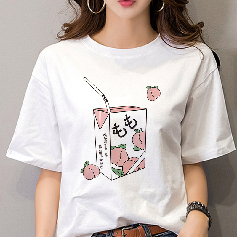 Aesthetic Grunge T-Shirt Women Harajuku Peach Juice Japanses Girl 90s Graphic Tee Shirt Femme Summer Casual Kawaii Vogue T Shirt