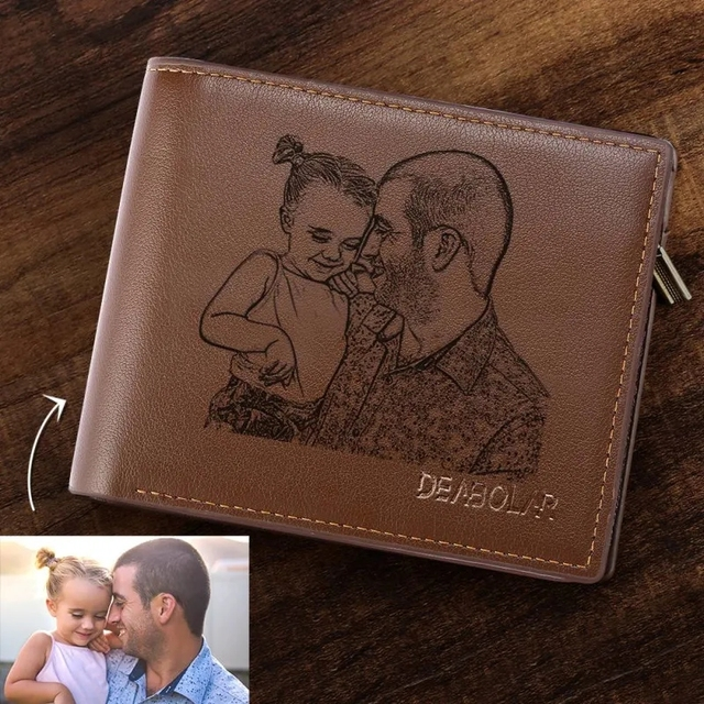 Engraving Picture Wallet DIY Customized Image Carving Text Mens  Short Slim Three Fold Leather Fathers Day Zipper Coin Purse