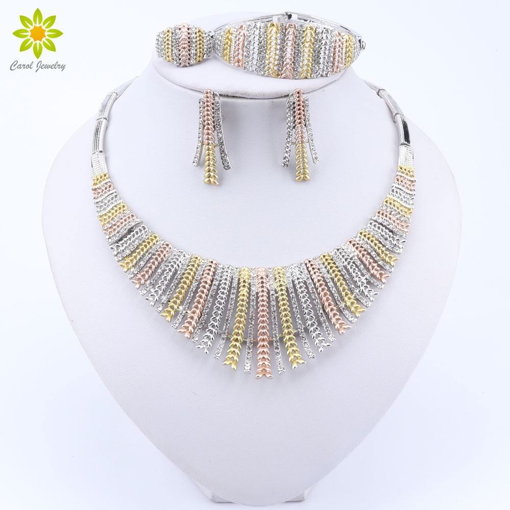 Fashion Wedding Dubai Africa Nigeria African Jewelry Set Silver Plated Necklace Earrings Set Romantic Woman Bridal Jewelry SetsBridal Jewelry Sets   -