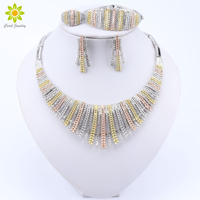 Fashion Wedding Dubai Africa Nigeria African Jewelry Set Silver Plated Necklace Earrings Set Romantic Woman Bridal Jewelry Sets