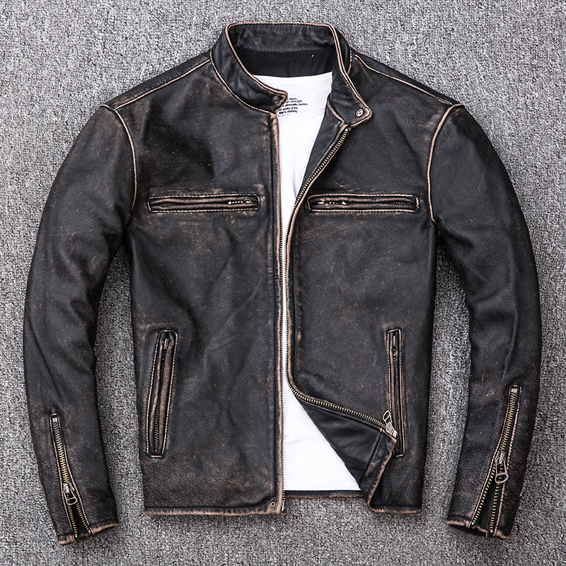2020 rétro Vintage noir hommes Biker en cuir veste grande taille XXXXL véritable peau de vache automne coupe ajustée moto en cuir manteau