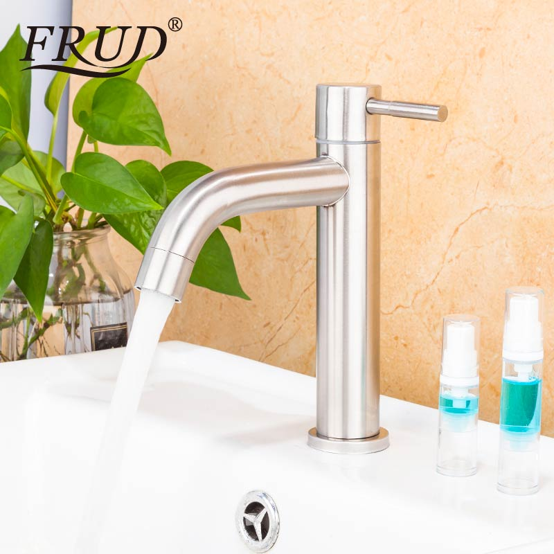 FRUD Single Cold Basin Faucet  Stainless Steel Waterfall Water Faucet For Bathroom Vessel Sink Tap Water