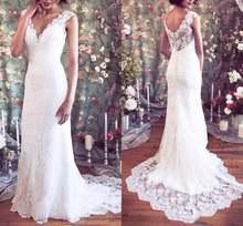 Женское свадебное платье с v образным вырезом кружевное бусинами