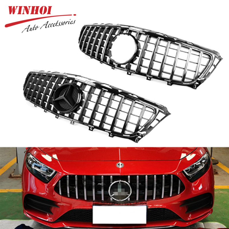 Car <font><b>Grill</b></font> Mesh without Emble for Mercedes Benz CLS Class GT <font><b>W218</b></font> Front Bumper Replacement Mesh Car Accessory ABS Racing <font><b>Grills</b></font> image