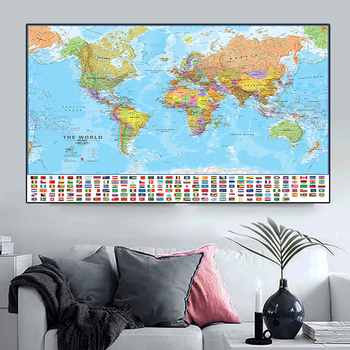 The World Political Physical Map 150x225cm Foldable No-fading World Map with National Flags Large Poster for Culture Education