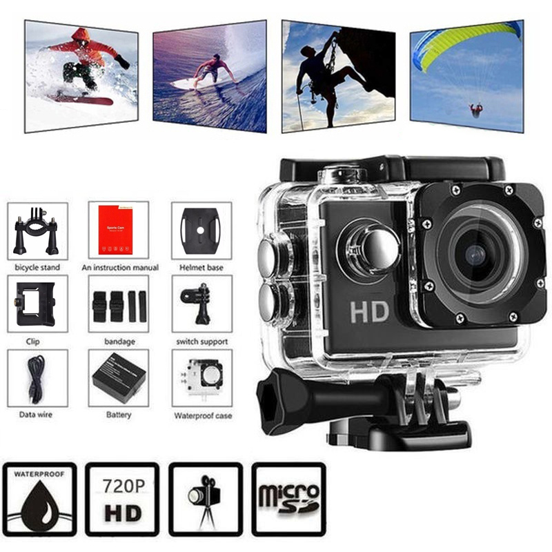 720P Action Camera Ultra HD Underwater Outdoor Mini Sport Camera Waterproof Cam Screen Color Water Resistant Video Surveillance