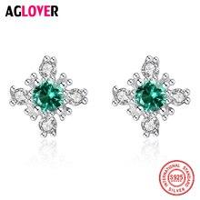 AGLOVER 925 Sterling Silver Stud Earrings Flowers Green Purple AAA Crystal Zircon Earrings Women Luxury Wedding Jewelry Gifts