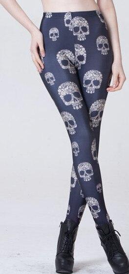 Starry Digital Print Skull Sexy Milk Silk Underpants Leggings