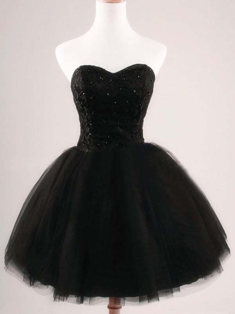 Robe de Cocktail noire sans bretelles robe de bal courte robes de bal 2019 dentelle perlée Corset dos robes de soirée formelles sur mesure