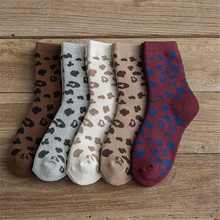 2020 Autumn And Winter New Thickened Terry Leopard Print Socks In The Tube Cotto