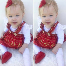My First Christmas Outfits Costume Infant Baby Girl Clothes Long Sleeve Soild Blank Romper Tops + Xmas Bib Skirt Outfit цена в Москве и Питере