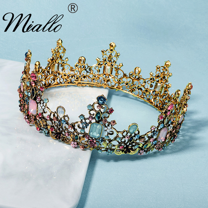 Miallo Crystal Tiaras and Crowns for Women Rhinestone Ancient Gold Color Flower Crown Hair Jewelry Party Prom Headpiece Gifts