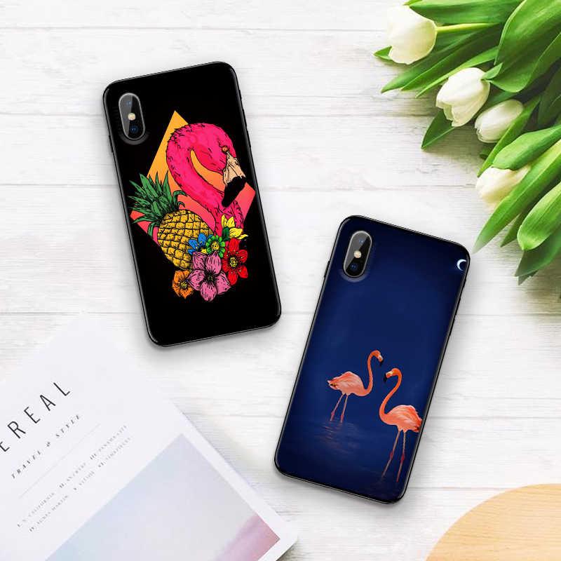 กรณีสำหรับ iPhone 6 6S plus กรณี Black Case สำหรับ iPhone 5 5S SE 7 8 Plus X XS Max XR Retro flamingo tropical