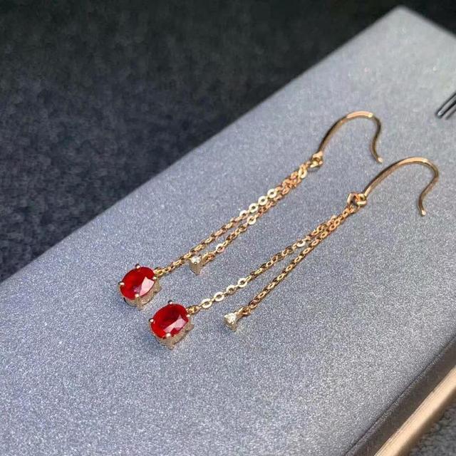 shilovem 18k rose gold real Natural ruby Gemstone drop earrings plant women fine new Christmas Gift 4*5mm  de0405881h 5