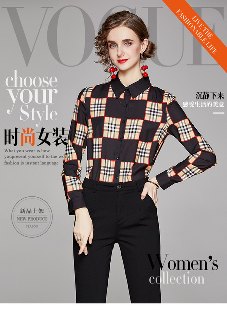 Big Checked Women Blouse Long Sleeves blusas mujer de moda Plaid blusas de mujer Spring Fall chemisier femme women clothes Sexy 6