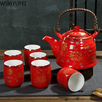 Chinese traditional wedding ceramic tea set Double anti-hot tea cup Double happiness teapot Household drinking utensils WSHYUFEI