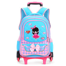 Hot Sales Removable Children School Bags with 2/6 Wheels for Girls Trolley Backpack Kids Wheeled Bag Bookbag travel luggage(China)