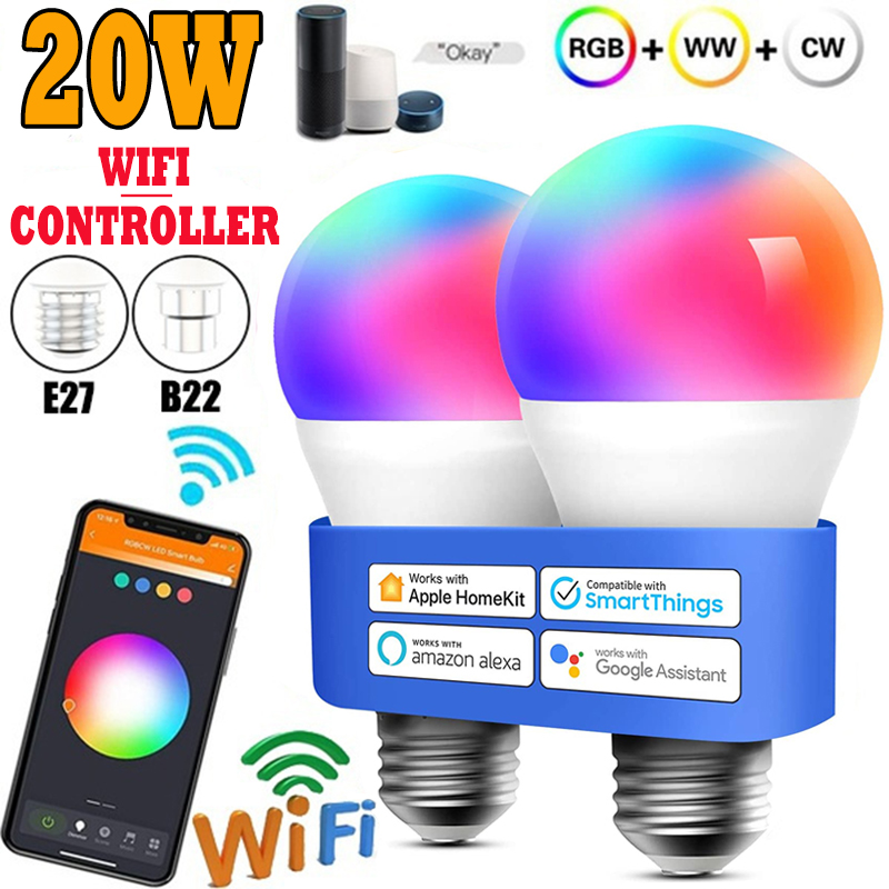 20W Smart Glühbirnen Dimmbare RGB Magie Led Lampe AC85-265V WiFi oder IR Fernbedienung Kompatibel mit Tuya APP alexa Google Hause