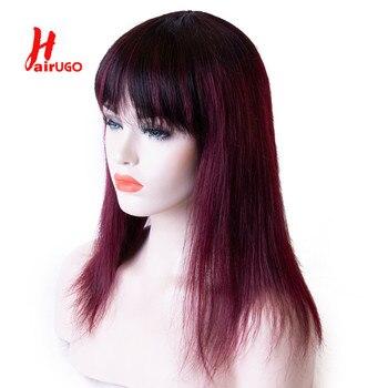 Peluca de pelo humano hailugo 1B/99J con flequillo, pelucas de cabello humano Rubio liso, pelucas de cabello humano Ombre para mujer, no Remy