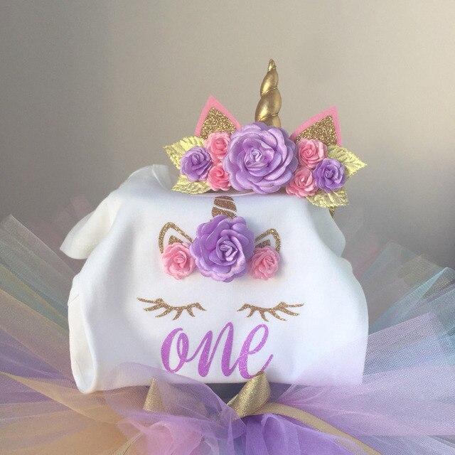 1 Year Girl Baby Birthday Dress Romper+Tutu Dress+Headband Cheap Newborn Clothes 12Months Christening Gown Toddler Unicorn Dress 1