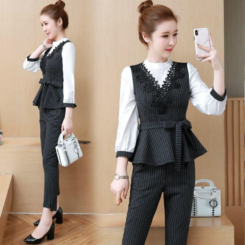 Business Debutante Graceful Set Stripes Waist Hugging Ruffle Hem Tops + Slimming Pants Two-Piece Set