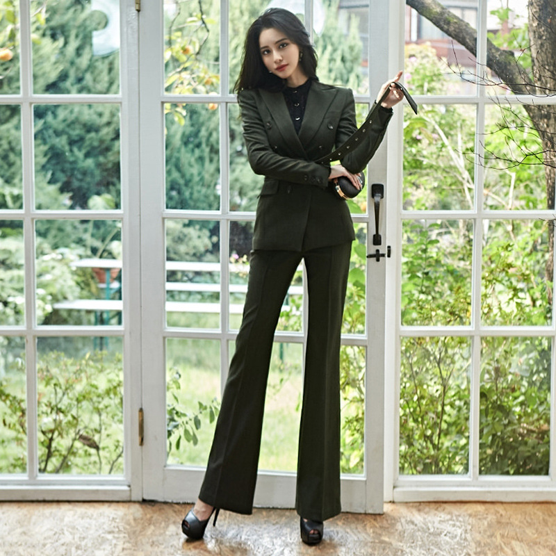 2019 Professional Elegant Women's Pants Suit High Quality Temperament Slim Solid Color Ladies Blazer Jacket Female Bell Bottom