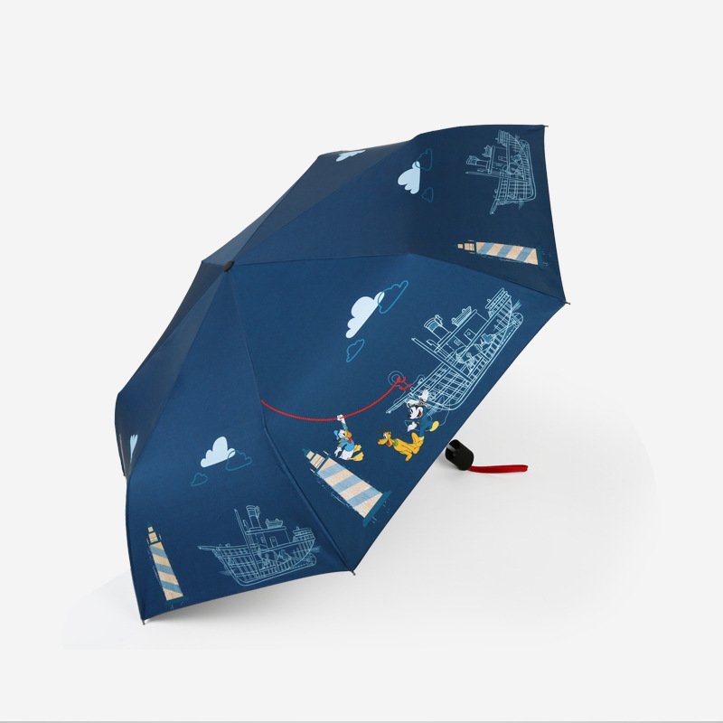 Disney Mickey Windproof Travel Umbrella Rain Sun Children Men Women Umbrella, Auto Open Close Button, Compact Protection