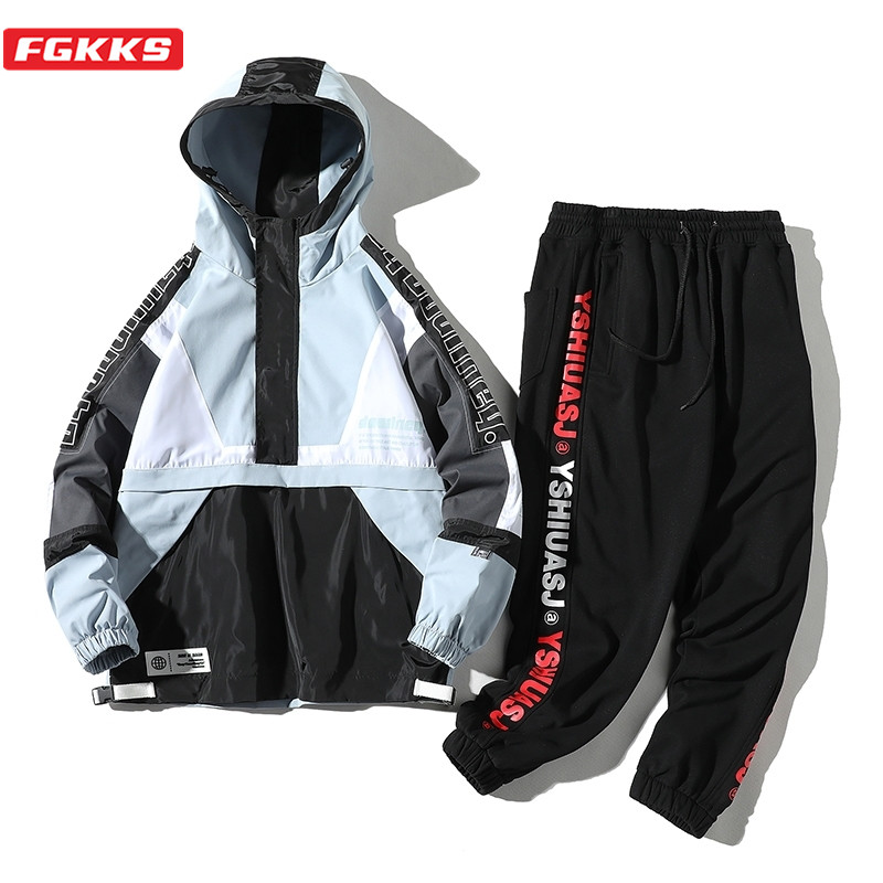 FGKKS Men Fashion Tracksuit Set Spring Autumn New Men's Zipper Coat + Pants 2 Piece Sets Sweat Suit Fitness Sets Male