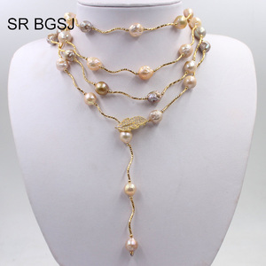 Image 2 - Free Shipping Lavender Edsion FW Pearl Beads Gold Color Leaf Clasp Lady Jewelry Statement Necklace 9 10mm 60""