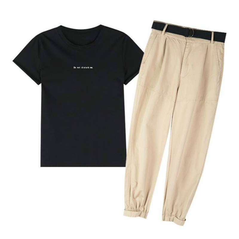 Summer Tracksuit Two Piece Outfit Black Letter Tshirt + Khaki Long Trousers Casual Cargo Pants Summer Women Set Comes With Belts