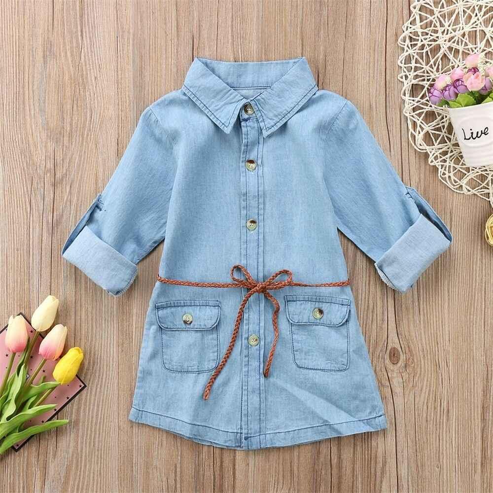Pudcoco одежда для малышей, одежда для девочек, джинсовое, короткое, мини, детское джинсовое платье с длинным рукавом Повседневное вечерние платье-рубашка