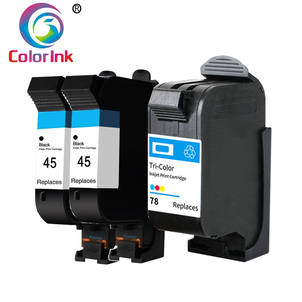 ColorInk Refilled 45 Ink Cartridges Replacement Hp 45 Black For FAX 1220 1220xi 1230 Photosmart 1000 1215 Fax 1220 Printer