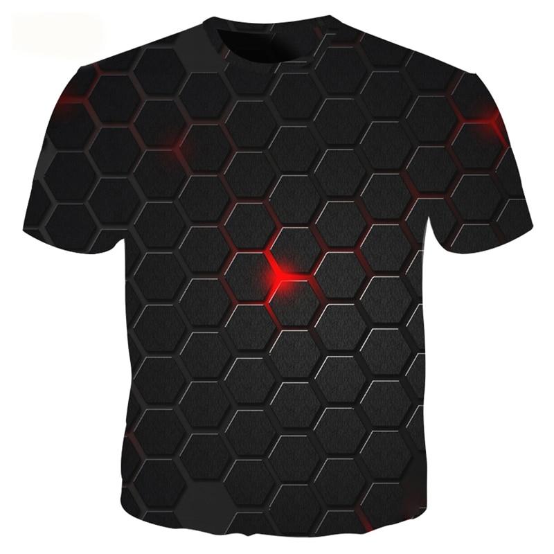 Male Funny 3d T Shirt Fashion Summer T Shirt Tops Cool Plaid Diamond 3d Hip Hop T Shirts Geometry 3D Printed Tshirt