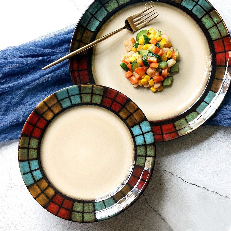 >Creative <font><b>Ceramic</b></font> Colorful Plates Steak Food Dish <font><b>Nordic</b></font> <font><b>Style</b></font> Retro Tableware Bowl Dinner Plate Cup High End Dinnerware Set