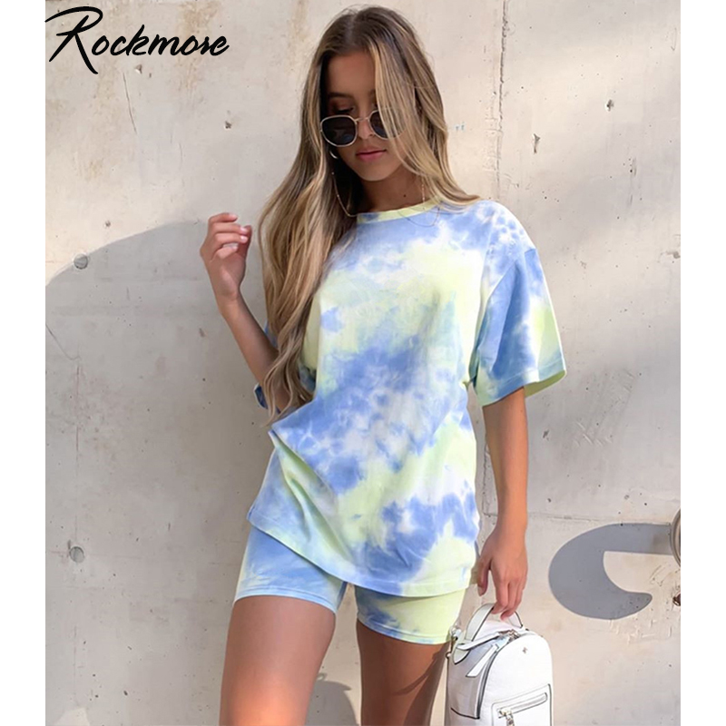 Rockmore Tie Dye Oversized Long Shirts Women Short Sleeve O-Neck Tshirts Harajuku Streetwear Casual Tops Plus Size Basic T-Shirt