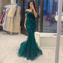 Зеленый Русалка кружевное вечернее платье вечерние элегантные
