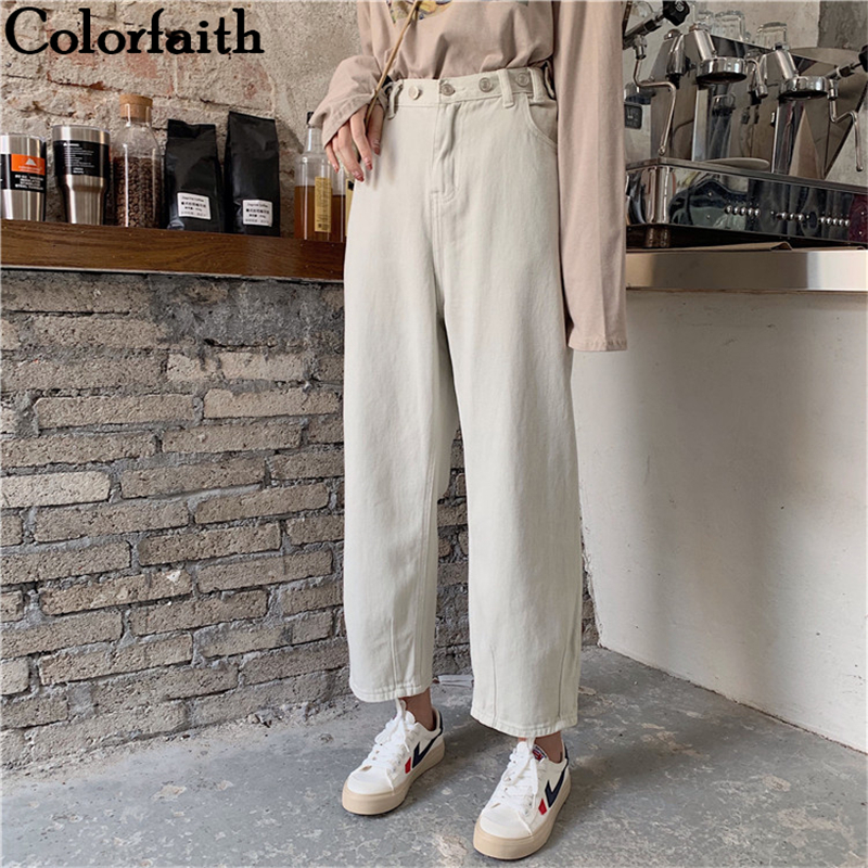 Colorfaith New 2019 Women Jeans Zipper Straight Boyfriends Korean Style High Waist Ankle-Length Pants Ladies Denim Jeans J9049