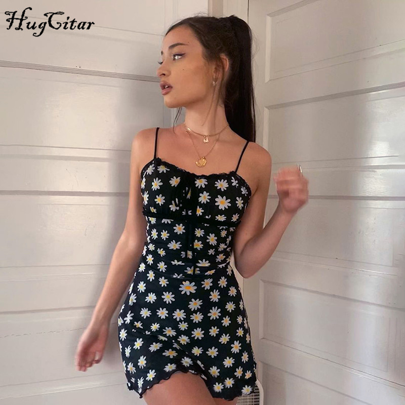 Hugcitar 2020 daisies print sleeveless bandage sexy mini dress summer women fashion streetwear outfits cute sundress
