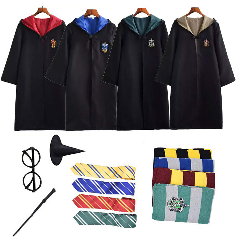 6PCS Full Set Halloween Costume Potter Robe Cape Suit Ravenclaw Gryffindor Hufflepuff Slytherin Cosplay Birthday Gift D2103AD