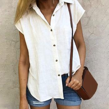 CYSINCOS Women Shirt Chiffon Blusas Femininas Tops Short Sleeve Ladies Formal Office Blouse Plus Size Clothing