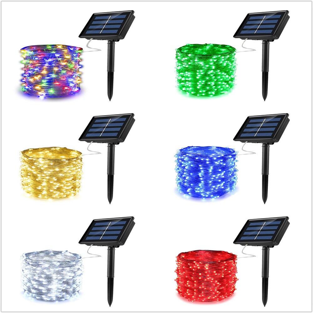 100 luces LED para Navidad /árbol resistente al agua 100 LED jard/ín Guirnalda de luces solares para exteriores decoraci/ón navide/ña Multicolor porche hogar fiesta